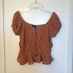 NWT Off the Shoulder Polka Dot Crop Top Girly